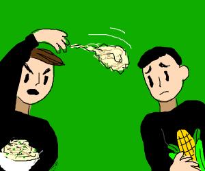 Mashed-Potatoes Man Attacks Corn and Man