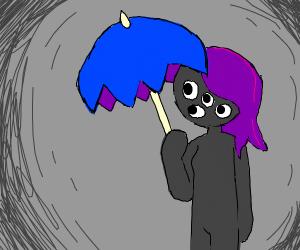Four-eyed girl holds umbrella