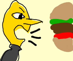 lemon from adventure time screaming at burger