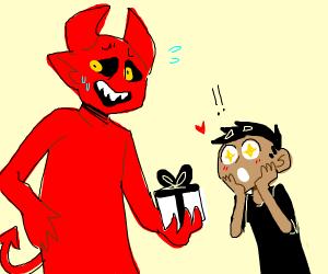 Satan surprises a man