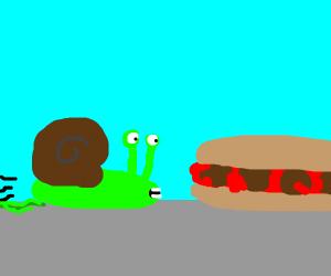 Snail enjoys the sub