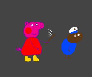 pig abuses dog