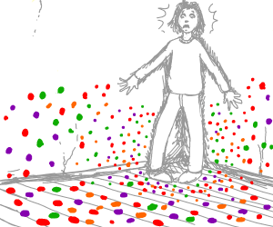 person fears vaguely insectlike coloured dots