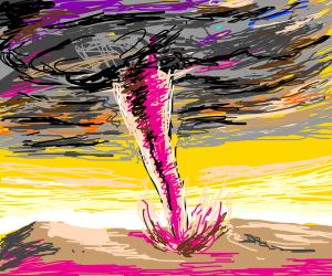 Pink tornado of sand.