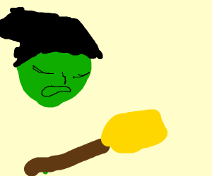 a witch sees her broom and is sad