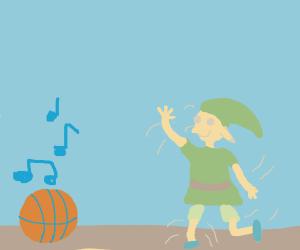 Basketball makes elf dance