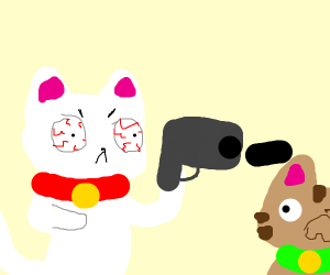 cat shooting other cat with a giant gun