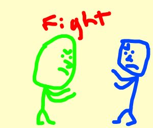 Green man fights with blue one