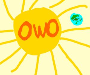 happy sun bigger then OWO earth face