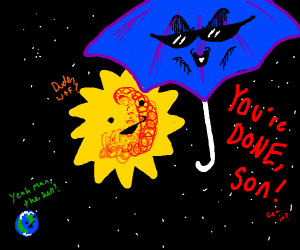 Evil umbrella looms in front of the sun