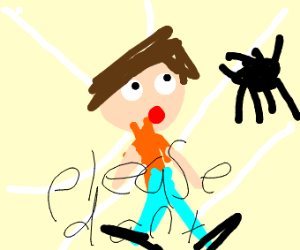 a man caught in a spider web