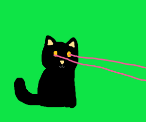 cat with laser eyes