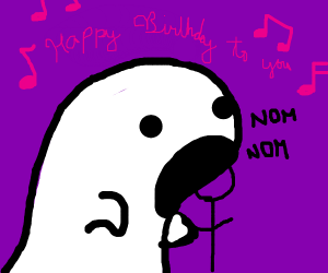 ghost eating a guy while saying happy bday