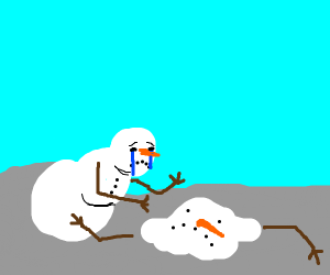 Snowman greefing over his boyfriend melting