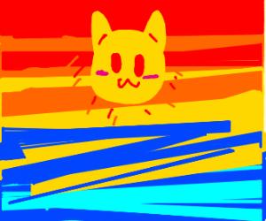 sunset but the sun is a kawaii cat's head