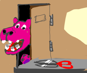 Pink hippo SNEAKS on in 'n grabs the scissors