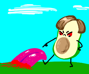 Evil avocado in brown wig finds bloody tongue