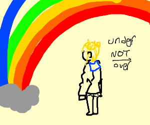 Under the rainbow, not over