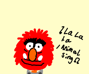 red animal singing a song
