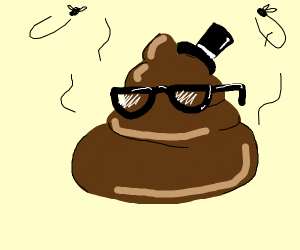 Poo with a hat and glasses