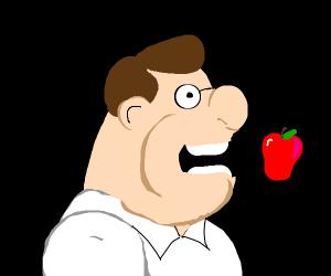 Peter Griffin eats an apple