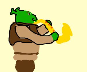 Shrek playing the sax