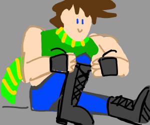 joseph joestar tying his shoes