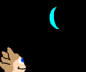 Spiky haired kid stares at the moon