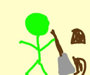 Green man with a shovel
