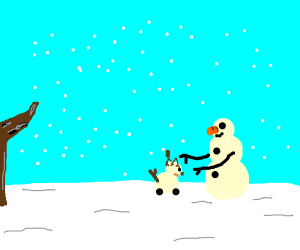 snowman building a snowdog from undertale