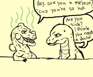 Erm... Infected dinosaur attempts to flirt...