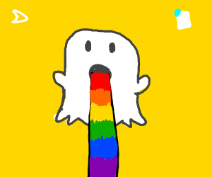 Snapchat ghost vomits a rainbow