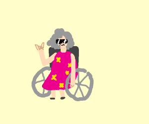 A cool granny on a wheel chair