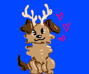Cute dog with small antlers