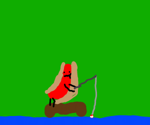 hot dog is fishing
