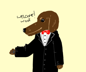 Happy dog in a suit says welcome