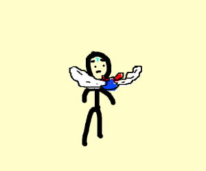 Evil blue Ball with wing on someones shoulder