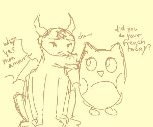 gargoyle satan kissing the doulingo owl