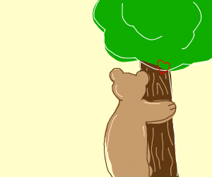 Bear hugging tree