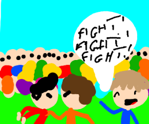 A kid wants two dudes to fight