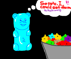 Gummy bear contenplating canibalism