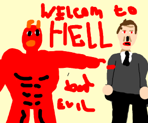 Satan introduces Hitler in hell.