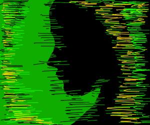 black silhouette w/ yellow & green sprinkles