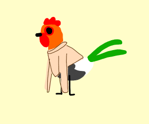 Rooster with a sweater on