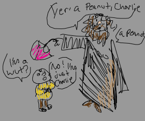 Hagrid tells Charlie Brown he is a peanut