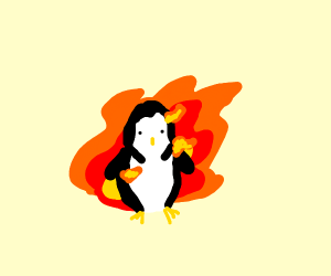 a penguin on fire