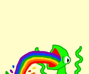 Kermit throwing up rainbow throwup