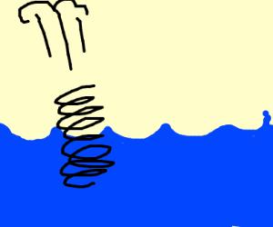 A Spring sinking into the Ocean
