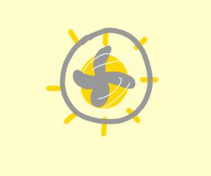 sun inside a fan
