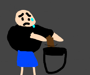 Rotund man stresses as he stirs the pot.